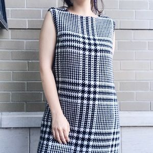 Tweed Houndstooth Wool and Crepe Shift Dress